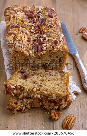 Banana cake with nuts and chocolate