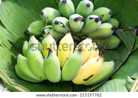 Banana, Cultivated Banana on banana leaf background.  - stock photo