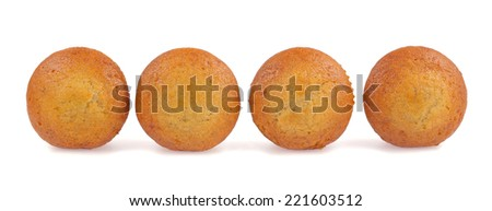 Banana cup cake isolated on white background