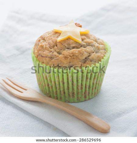 Banana cupcake with cheese  - stock photo
