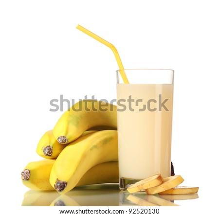 Banana juice with bananas isolated on white - stock photo