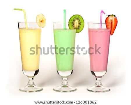 Banana, kiwi and strawberry milk shake and fresh fruis. Cocktail with milk. White isolated glass of milkshake. - stock photo