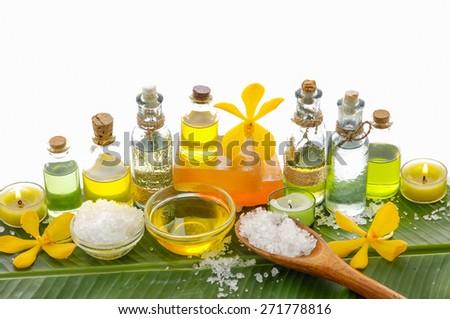 Banana leaf background- Health spa - stock photo