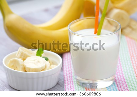 Banana milk shake in a glass - stock photo
