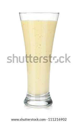 Banana milk smoothie. Isolated on white background - stock photo