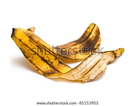 Banana peel on white background - stock photo