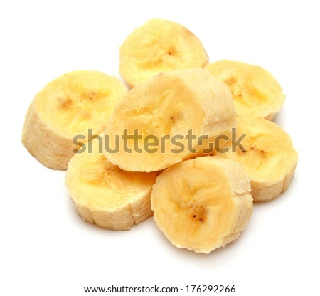 Banana slices isolated on a white background
