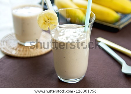 Banana smoothie - stock photo