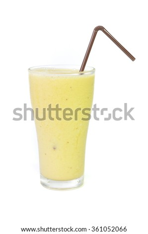 banana smoothie and straw on white background