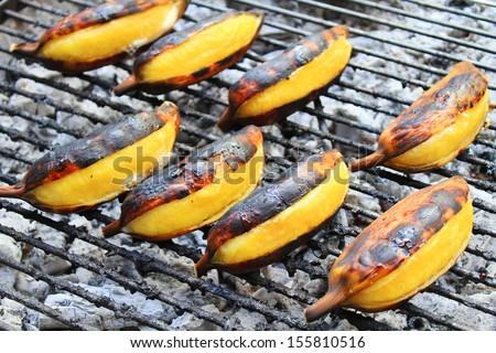 Banana toast. - stock photo