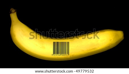 banana with barcode - stock photo