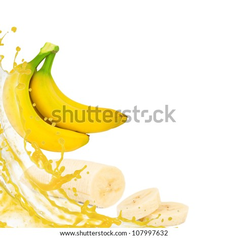 Banana with splash isolated on white - stock photo