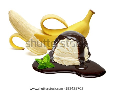 Banana with vanilla ice cream with chocolate sauce on white background