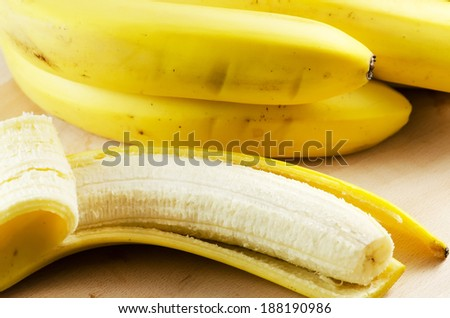 Bananas on a wooden table.