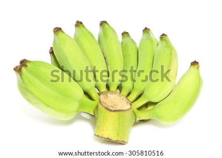 Bananas,Thai cultivated banana, Thai bananas on on white background. Soft focus - stock photo