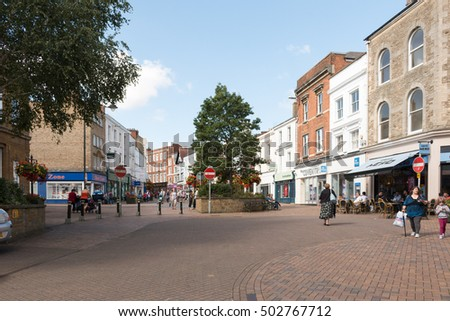 Banbury, United Kingdom - August 29, 2016: Cityscape of market town of Banbury, located in Oxfordshire, South East England. Sunny weather.
