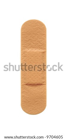 Band-aid isolated on white background. High-resolution scan. - stock photo
