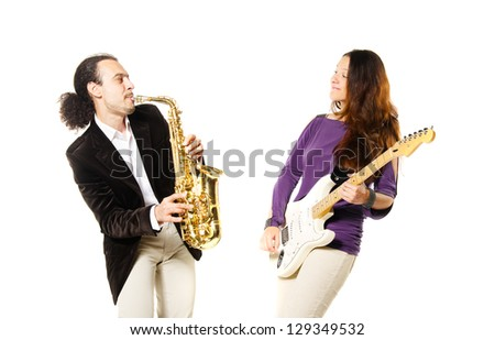 band males performance - stock photo