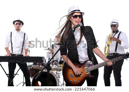 Band of musicians with instruments. isolated on white background - stock photo