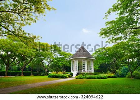 Band stand landmark at Singapore Botanic Garden - stock photo