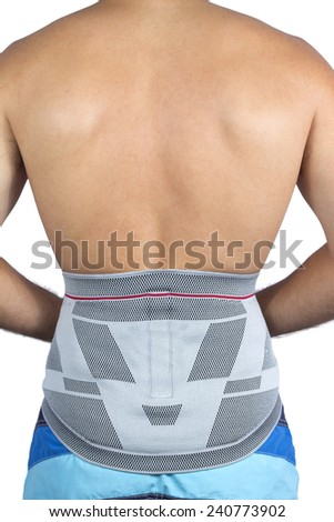 bandage on the waist section of a young man