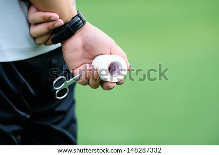 Bandage scissors in the medical field. - stock photo