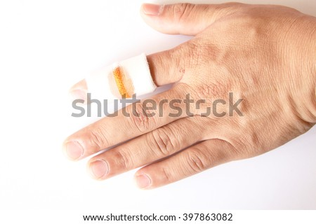 bandaged finger close up