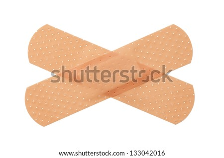 Bandages crossed isolated on a white background.