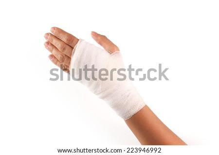 bandaging on the wrist - stock photo