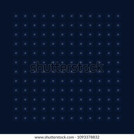 Medium Scale Floral Ornament Blue Flowers On A Indigo Geometric Simple