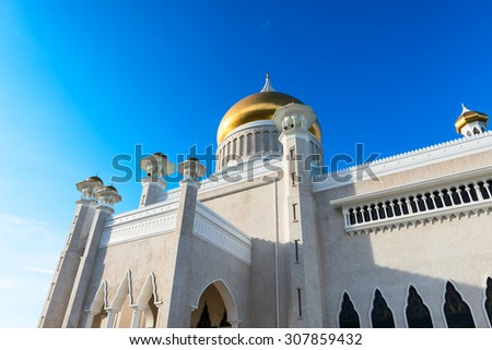 BANDAR SERI BEGAWAN(BSB), BRUNEI-MARCH. 6:Masjid Sultan Omar Ali Saifuddin Mosque and royal barge in BSB, Brunei March 6, 2015.