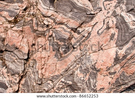 Banded gneiss rock - Rocky outcrop in Canadian shield