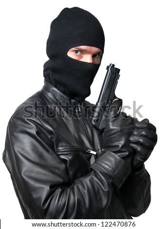 bandit in mask with weapon