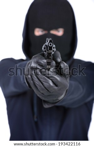 Bandit in mask with weapon. isolated on white background - stock photo