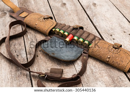 Bandoleer bag, hunting ammunition - stock photo