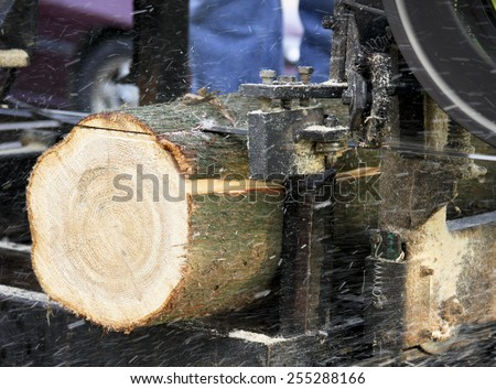 Bandsaw sawmill with bark and saw dust flying cutting a pine log. - stock photo