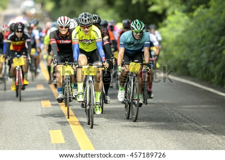 BANDUNG,UDON THANI-JULY 24 2016:Group of cyclist at professional race.