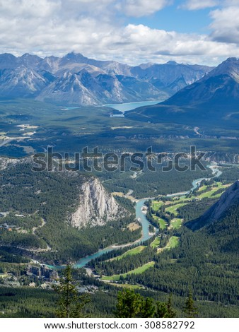 Banff Springs Hotel and golf course viewed from Sulphur Mountain in Alberta, Canada - stock photo