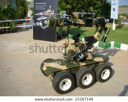 BANGALORE - FEBRUARY 24: An IED robot on display at the 18th International Engineering & Technology Fair, February 24, 2009, at the Bangalore International Exhibition Centre, Bangalore, India.