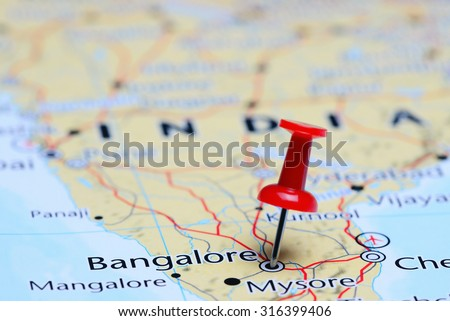 Bangalore pinned on a map of Asia  - stock photo