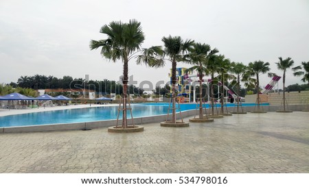 BANGI, MALAYSIA -OCTOBER 22, 2016: Water theme park for kids in Bangi, Selangor, Malaysia. There are many water-themed games such as sliding and musical fountain.