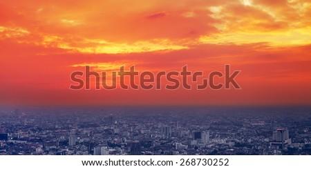 Bangkok aerial city view at sunset, Thailand - stock photo