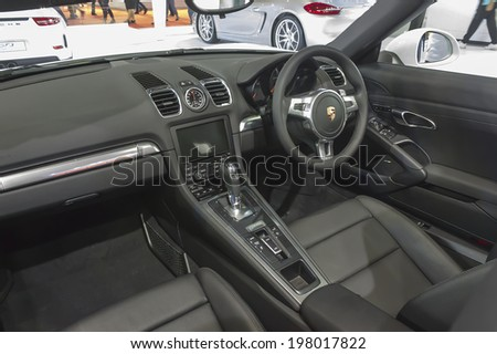 BANGKOK - APRIL 2: Interior of Porsche Panamera S e-hybrid car on display at The 35th Bangkok International Motor Show on April 2, 2014 in Bangkok, Thailand.