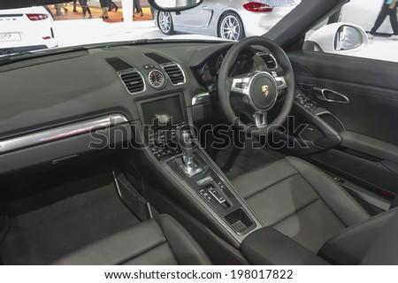 BANGKOK - APRIL 2: Interior of Porsche Panamera S e-hybrid car on display at The 35th Bangkok International Motor Show on April 2, 2014 in Bangkok, Thailand. - stock photo