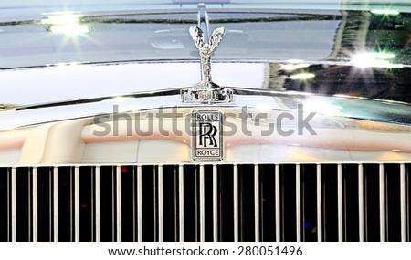 Bangkok - April 2 :logo of Rolls Royce on bumper - in display at The 36th Bangkok international Motor Show 2015 on April 2, 2015 in Bangkok Thailand - stock photo