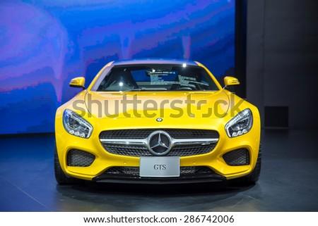 BANGKOK - April 5, 2015 : Mercedes-Benz GTS car on display at The 36th Bangkok International Motor show on April 5, 2015 in Bangkok, Thailand. - stock photo