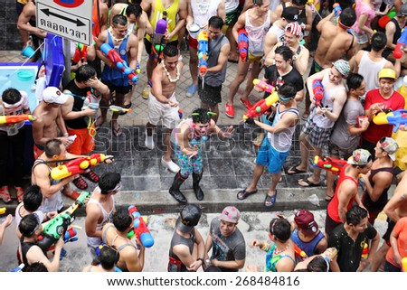 Bangkok April 15:Songkran Festival at Silom Road, Bangkok, is another beat place to celebrate Thai tradition New Year for thais and foreigners on Silom Bangkok April 15,2014 in Thailand