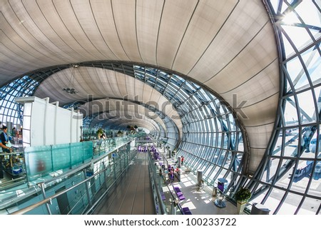 BANGKOK - APRIL 5:The main concourse of Suvarnabhumi Airport , designed by Helmut Jahn is the world's third largest single-building airport terminal on April 5, 2012 in Bangkok ,Thailand. - stock photo