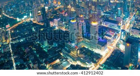 Bangkok at night or Twilight, Aerial Scenic Panoramic view - stock photo