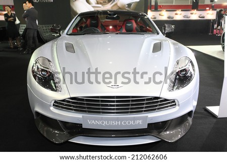 BANGKOK - August 19: Aston Martin Vanquish Coupe car on display at Big Motor sale on August, 2014 in Bangkok, Thailand.